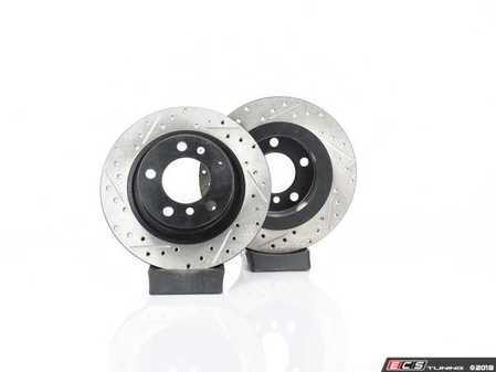 ES#4141717 - 34219811540XSKT - Performance Rear Brake Service Kit - Featuring ECS V4 Drilled/Slotted rotors and EBC Red pads - Assembled By ECS - MINI