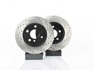 """ES#3559392 - 025997ecs311KT - Front V4 Cross Drilled Rotors - Pair 11.10"""" (282x22) - Precision manufactured and featuring an electrostatic rust-inhibiting coating - ECS - MINI"""