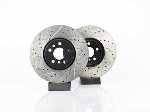 ES#4365077 - 34116866297XSKT - Performance Front & Rear Brake Service Kit  - Featuring ECS V4 Cross Drilled & Slotted rotors and Hawk HPS 5.0 pads - Assembled By ECS - MINI