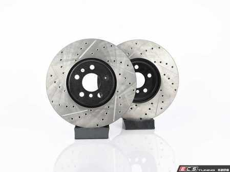 ES#4365063 - 34106881045XSSKT - Performance Front & Rear Brake Service Kit - JCW - Featuring ECS V4 Cross Drilled & Slotted rotors and EBC Red pads - Assembled By ECS - MINI