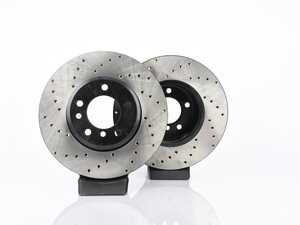 ES#3524359 - 025997ecs08KT - Front V4 Cross Drilled Brake Rotors - Pair (324x30) - Precision manufactured and featuring an electrostatic rust-inhibiting coating - ECS - BMW