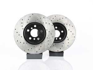 """ES#3559405 - 025997ecs317KT - Front V4 Cross Drilled JCW Rotors - Pair 13.189"""" (335x30) - Precision Manufactured And Featuring An Electrostatic Rust-inhibiting Coating - ECS - MINI"""