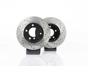ES#3524482 - 025997ecs055KT - Front V4 Cross Drilled & Slotted Brake Rotors - Pair (300x24) - Precision manufactured and featuring an electrostatic rust-inhibiting coating - ECS - BMW