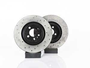 ES#2597603 - 34116855781XSKKT - Performance Front & Rear Brake Service Kit - JCW - Featuring ECS V4 Drilled rotors and Hawk HPS pads - Assembled By ECS - MINI