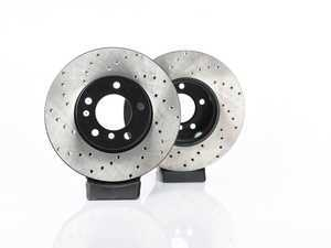 ES#3524367 - 025997ecs013KT - Front V4 Cross Drilled Brake Rotors - Pair (312x24) - Precision manufactured and featuring an electrostatic rust-inhibiting coating - ECS - BMW