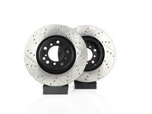 ES#3524378 - 025997ecs018KT - Front V4 Cross Drilled Brake Rotors - Pair (325x28) - Precision manufactured and featuring an electrostatic rust-inhibiting coating - ECS - BMW