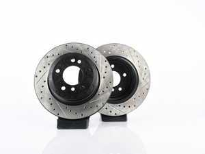 ES#3524476 - 025997ecs053KT - Rear V4 Cross Drilled & Slotted Brake Rotors - Pair (320x20) - Precision manufactured and featuring an electrostatic rust-inhibiting coating - ECS - BMW