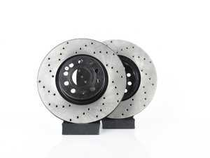 ES#3536567 - 025997ECS0189KT -  Front V4 Cross Drilled Brake Rotors - Pair (334x32) - Precision manufactured and featuring an electrostatic rust-inhibiting coating - ECS - Audi Volkswagen