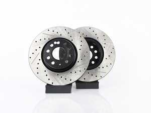 ES#3536700 - 025997ECS0215KT -  Front V4 Cross Drilled & Slotted Brake Rotors - Pair (312x25) - Precision manufactured and featuring an electrostatic rust-inhibiting coating - ECS - Audi Volkswagen