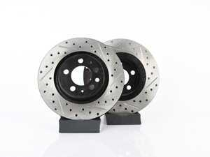 ES#3536640 - 025997ECS0200KT - Front V4 Cross Drilled & Slotted Brake Rotors - Pair (280x22) - Precision manufactured and featuring an electrostatic rust-inhibiting coating - ECS - Volkswagen