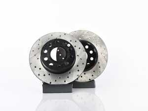 ES#3536864 - 025997ECS0364KT -  Rear Cross Drilled Brake Rotors - Pair (260x12) - Precision manufactured and featuring an electrostatic rust-inhibiting coating - ECS - Audi Volkswagen