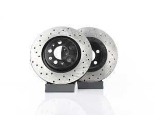 ES#3536646 - 025997ECS0206KT -  Front V4 Cross Drilled Brake Rotors - Pair (280x22) - Precision manufactured and featuring an electrostatic rust-inhibiting coating - ECS - Volkswagen