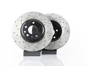 ES#3537730 - 025997ECS0609KT -  Front V4 Cross Drilled & Slotted Brake Rotors - Pair (320x30) - Precision manufactured and featuring an electrostatic rust-inhibiting coating - ECS - Audi