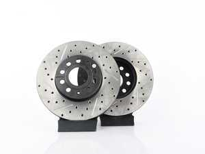 ES#3536815 - 025997ECS0280KT -  Front V4 Cross Drilled & Slotted Brake Rotors - Pair (288x25) - Precision manufactured and featuring an electrostatic rust-inhibiting coating - ECS - Audi Volkswagen