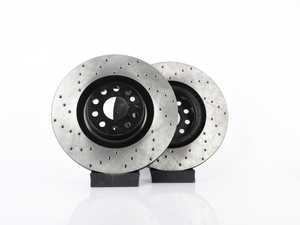 ES#3536805 - 025997ECS0278KT -  Front V4 Cross Drilled Brake Rotors - Pair (345x30) - Precision manufactured and featuring an electrostatic rust-inhibiting coating - ECS - Audi Volkswagen
