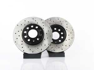 ES#3536817 - 025997ECS0282KT - Front V4 Cross Drilled Brake Rotors - Pair (288x25) - Precision manufactured and featuring an electrostatic rust-inhibiting coating - ECS - Audi Volkswagen