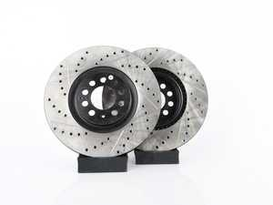 ES#3538316 - 025997ECS0645KT -  Front V4 Cross Drilled & Slotted Brake Rotors - Pair (312x25) - Precision manufactured and featuring an electrostatic rust-inhibiting coating - ECS - Audi Volkswagen