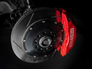 ES#3125363 - 83.896.6700.71 - StopTech Front Big Brake Kit - 2 Piece Slotted Rotors (355x32) - Featuring Red 6 piston calipers, stainless brake lines, slotted rotors, and Street performance brake pads - StopTech - Audi Volkswagen
