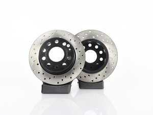ES#3536848 - 025997ECS0353KT - Rear V4 Cross Drilled Rotors - Pair (253x10) - Precision manufactured and featuring an electrostatic rust-inhibiting coating - ECS - Audi Volkswagen