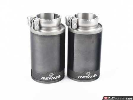 ES#3476675 - 0026-98CB - 98mm Straight-Cut Black Chrome Exhaust Tips - Pair - Features an adjustable spherical clamp connection - Remus -