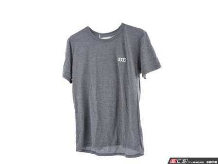 ES#3133459 - ACM3001CHAMD - Quattro T-Shirt - Charcoal - Medium - Sometimes less is more. Make yourself known with the quattro T-Shirt. 100% combed and ringspun cotton. - Genuine Volkswagen Audi - Audi BMW Volkswagen Mercedes Benz MINI Porsche