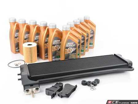 ES#3568788 - 17222282499KT - S85 Engine Oil Cooler Replacement Kit - For the enthusiast that seeks a proper repair. Includes a new original equipment oil cooler, mounting hardware, and Castrol oil service kit. - Assembled By ECS - BMW