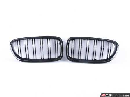 ES#2827005 - BM01-F1014M-BK - ECS Dual Slats Kidney Grille Set - Gloss Black - Add style and individuality to your 5 Series in minutes! - ECS - BMW