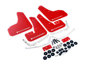 ES#3129667 - MF37URRDWH - Mud Flap Kit - Red With White Logo  - Durable, polyurethane mud flaps - Rally Armor - Volkswagen