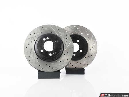 ES#4140486 - 34116768933XSKT1 - Performance Front Brake Service Kit - Featuring ECS V4 Slotted/Drilled rotors and Hawk HPS pads - Assembled By ECS - MINI