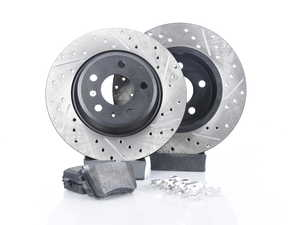 ES#3224619 - 938.33503 - Axle Pack Service Kit - Drilled & Slotted - Rear - (300x12) - Featuring Stoptech Drilled & Slotted rotors and Stoptech Street pads - StopTech - Audi