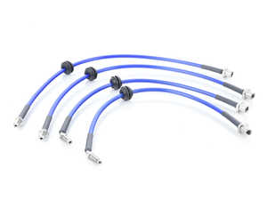 ES#3557946 - NM.868856TBLU - NM Stainless Steel Brake Lines Set - Transparent Blue - Improves pedal feel - NM Engineering - MINI