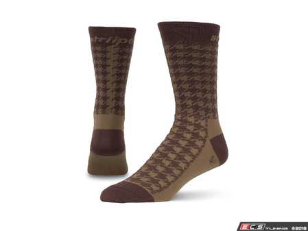 ES#3579098 - HNDTHBR - Houndstooth - Brown - Ditch those crew-lengths and gold-toes and modify that sock drawer the right way. - Striipe - Audi BMW Volkswagen Mercedes Benz MINI Porsche