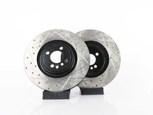 """ES#3559440 - 025997ecs337KT - Front V4 JCW GP2 Cross Drilled & Slotted Brake Rotors - Pair 13"""" (330x25) - Precision manufactured and featuring an electrostatic rust-inhibiting coating - ECS - MINI"""