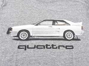 ES#3232549 - ACM3009GRYSM - Rally Car quattro T-Shirt - Small - Rally car design on front in black and white with Audi four rings logo on left sleeve in white. Classic Fit. - Genuine Volkswagen Audi - Audi BMW Volkswagen Mercedes Benz MINI Porsche