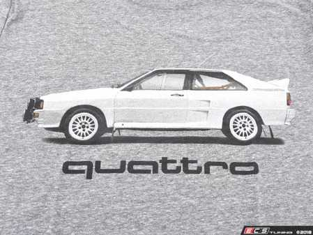 ES#3232549 - ACM3009GRYSM - Rally Car quattro T-Shirt - Small - (NO LONGER AVAILABLE) - Rally car design on front in black and white with Audi four rings logo on left sleeve in white. Classic Fit. - Genuine Volkswagen Audi -