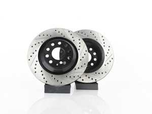 ES#3536945 - 025997ECS0378KT - Rear V4 Cross Drilled & Slotted Brake Rotors - Pair (310x22) - Precision manufactured and featuring an electrostatic rust-inhibiting coating - ECS - Audi Volkswagen
