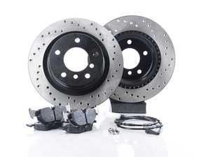 ES#3537240 - 025997ecs0100KT4 - Performance Rear Brake Service Kit - Featuring ECS V4 cross drilled rotors and Hawk HPS pads - Assembled By ECS - BMW