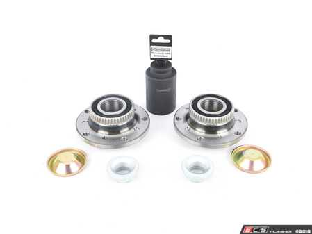 ES#3603419 - 31222229501KT2 - Front Wheel Hub/Bearing Assembly kit - Includes left and right bearing, nuts, dust caps and Schwaben 46mm socket for ease of installation - Assembled By ECS - BMW