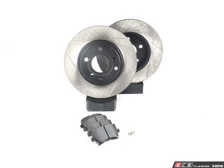 ES#3537630 - 025997ECS0564KT - Performance Rear Brake Service Kit - Featuring ECS V4 Slotted rotors and Hawk HPS pads - Assembled By ECS - Audi