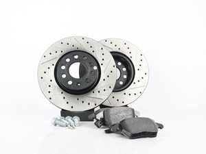 ES#3536709 - 025997ECS0224KT - Performance Front Brake Service Kit (312x25) - Featuring ECS V4 cross drilled and slotted rotors and Hawk HPS pads - Assembled By ECS - Volkswagen