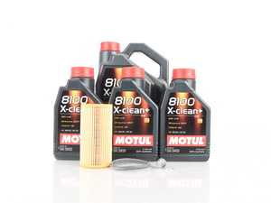 ES#3603768 -  3374650234KT - Oil Service Kit - Premium - Includes 8 liters of Motul 8100 X-Clean+ 504.00 / 507.00 / (5w-30), filter, drain plug with sealing washer, and oil sticker - Assembled By ECS - Audi
