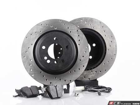 ES#3537333 - 025997ecs086KT4 - Performance Rear Brake Service Kit - Featuring ECS V4 cross drilled rotors and Hawk HPS pads - Assembled By ECS - BMW