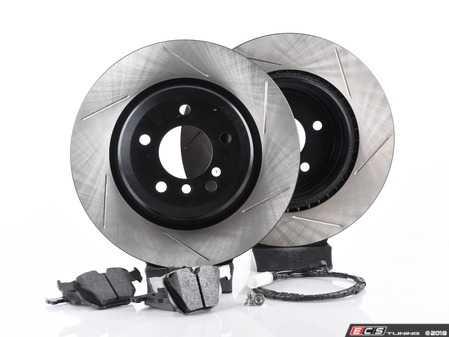 ES#3537331 - 025997ecs086KT3 - Performance Rear Brake Service Kit - Featuring ECS V4 slotted rotors and Hawk HPS pads - Assembled By ECS - BMW