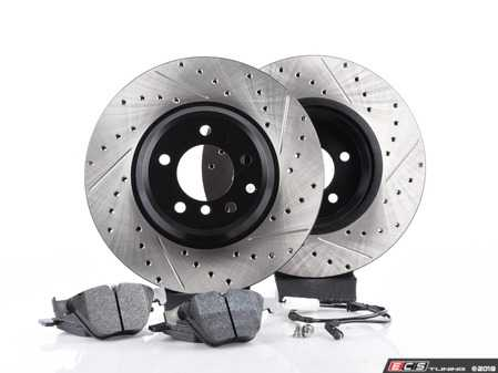 ES#3537298 - 025997ecs075KT2 - Performance Front Brake Service Kit - Featuring ECS V4 cross drilled and slotted rotors and Hawk HPS pads - Assembled By ECS - BMW