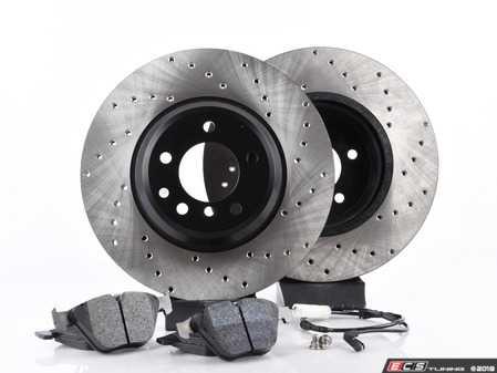 ES#3537300 - 025997ecs075KT4 - Performance Front Brake Service Kit - Featuring ECS V4 cross drilled rotors and Hawk HPS pads - Assembled By ECS - BMW