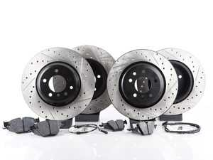 ES#3537342 - 025997ecs075Kt6 - Performance Front & Rear Brake Service Kit - Featuring ECS V4 cross drilled and slotted rotors and Hawk HPS pads - Assembled By ECS - BMW