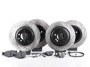 ES#3537344 - 025997ecs075Kt8 - Performance Front & Rear Brake Service Kit - Featuring ECS V4 cross drilled rotors and Hawk HPS pads - Assembled By ECS - BMW