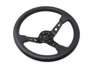 ES#3603840 - 100DP - 100 Dark Series Steering Wheel - Genuine Perforated Leather - Upgrade your interior styling with a universal, performance styled steering wheel from Renown! Features a 350mm diameter and 100mm Depth. - Renown - Audi BMW Volkswagen Mercedes Benz MINI Porsche