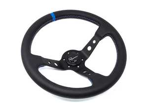 ES#3603848 - 100MPLCb - 100 Motorsport Competition Series Steering Wheel - Genuine Perforated Leather w/ Tricolor Stitching & Blue Leather Centerline - Upgrade your interior styling with a universal, performance styled steering wheel from Renown! Features a 350mm diameter and 100mm Depth. - Renown - Audi BMW Volkswagen Mercedes Benz MINI Porsche