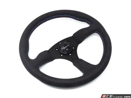 ES#3603864 - 130RMS - 130R Motorsport Series Steering Wheel - Alcantara Suede w/ Tricolor Stitching - Upgrade your interior styling with a universal, performance styled steering wheel from Renown! Features a 350mm diameter and 50mm depth. - Renown - Audi BMW Volkswagen Mercedes Benz MINI Porsche